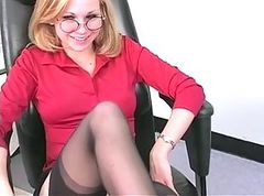Perky-titty blonde strips and masturbates in office
