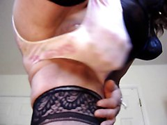 Panty whore masturbating his hardon in big nylon panties