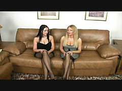 Mother & Daughter team together for a nylon footjob