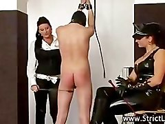 Bdsm dominatrix whips pathetic submissive bastard