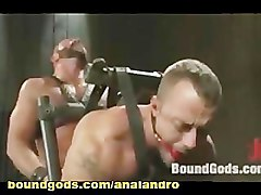 BDSM Master Chains a Gay Slave and Machine Fucking