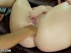 Girl gets crazy double anal fisting from lesbian lover