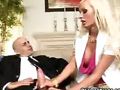 Hot blonde gives hand job and blow job