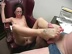 Nerdy Girl in glasses like Footjob  3