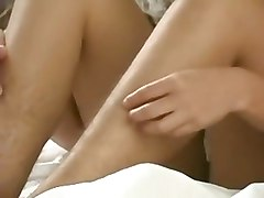 Busty girl plays with her hairy armpits and pussy