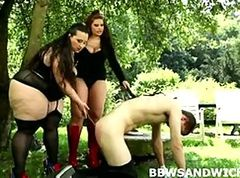 BBW femdom threesome orgy with heavy-weight slave punishment