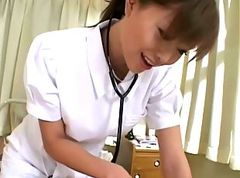 Asian nurse handjob and cumshot action