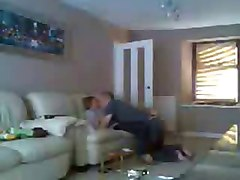 mom and dad home alone having fun. hidden cam