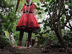 sissy ray in red sissy dress outdoors 3a