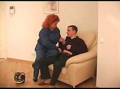 Redhead Mature with Big Boobs taking young cock