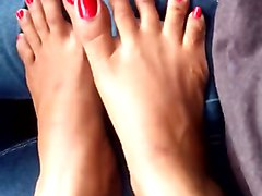 indian feet red toenails teasing fj