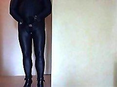 catsuit, gloved, boots, cuffed, handcuffed and pleasure