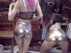girlls dance in tihgt and shiny shorts