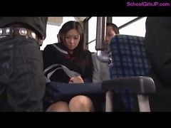 Schoolgirl Getting Her Tits Rubbed Squirting While Fingered By Guys On The Bus