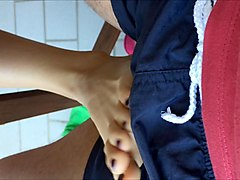 german sandra amateur footjob public balcony!