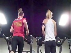 two hot girls with great ass on treadmill