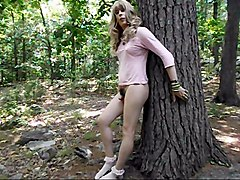 femboy plays with her baby dick in the woods!