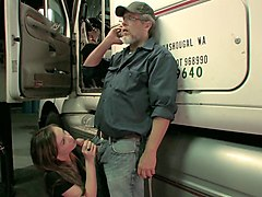 sexy capri anderson blows a horny trucker as he talks to his wife