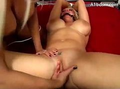 Busty Blonde Tied ArmsAnd Legs Mouth GagGetting..