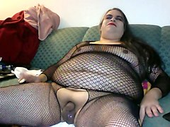 fat ugly tranny in fishnet bodystocking is jerking off for me on cam