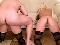 homemade russian threesome with a blonde and a brunette