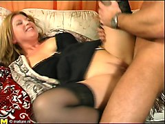 chubby mature wife tries to ride her lover's stiff cock on the couch
