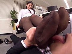 gorgeous asian secretary in pantyhose gives a super hot footjob