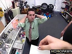 horny pawnshop staff fucking a gay their in the ass with a huge cock