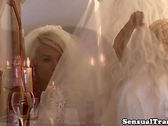 Shemale bride pleasured on her wedding night
