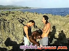 outdoor african teen blowjob fucking threesome