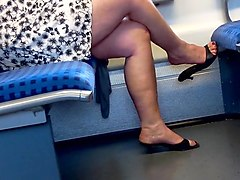 bbw mature with hot feet in red toenails dangling with heels