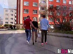 bisexual couple getting naughty with stranger dude outdoor