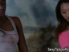 ebony beauty queened by asian babe in trio