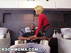 euro blonde milf gets hammered by two black dudes with monster cocks