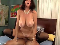huge titted mom fucks her son in her sexy stockings