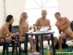 flavia and diana stewart make men's cocks hard during and orgy
