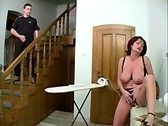 redhead elegant granny was masturbating when young man caught her