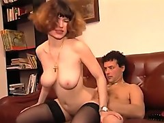 redhead hot german bitch with big tits blows dick and rides it