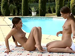 poolside passion by sapphic erotica - sensual lesbian sex scene with mya and cap
