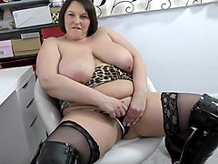 BBW in sexy black latex boots shows off her hot cunt