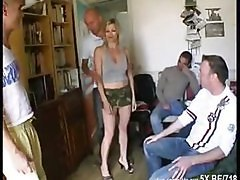 French Blonde Get Gangbanged