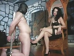 Sexy Mistress Plays Rough With His Penis